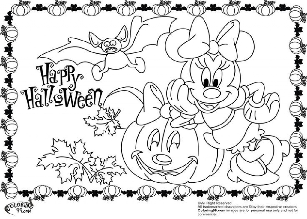 1024x730 Minnie Mouse Halloween Coloring Pages