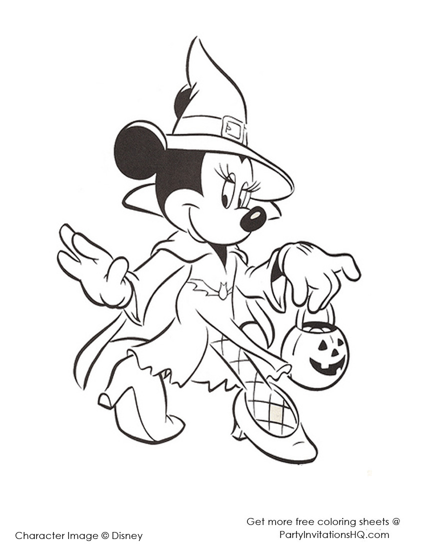 Gratis Kleurplaten Minnie Mouse.Minnie Mouse Halloween Coloring Pages At Getdrawings Com Free For
