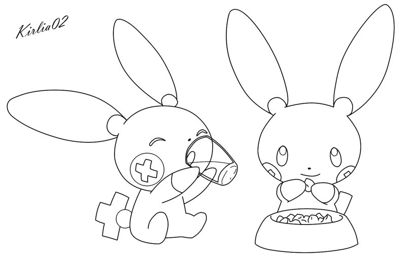 800x515 Plusle And Minun Lineart