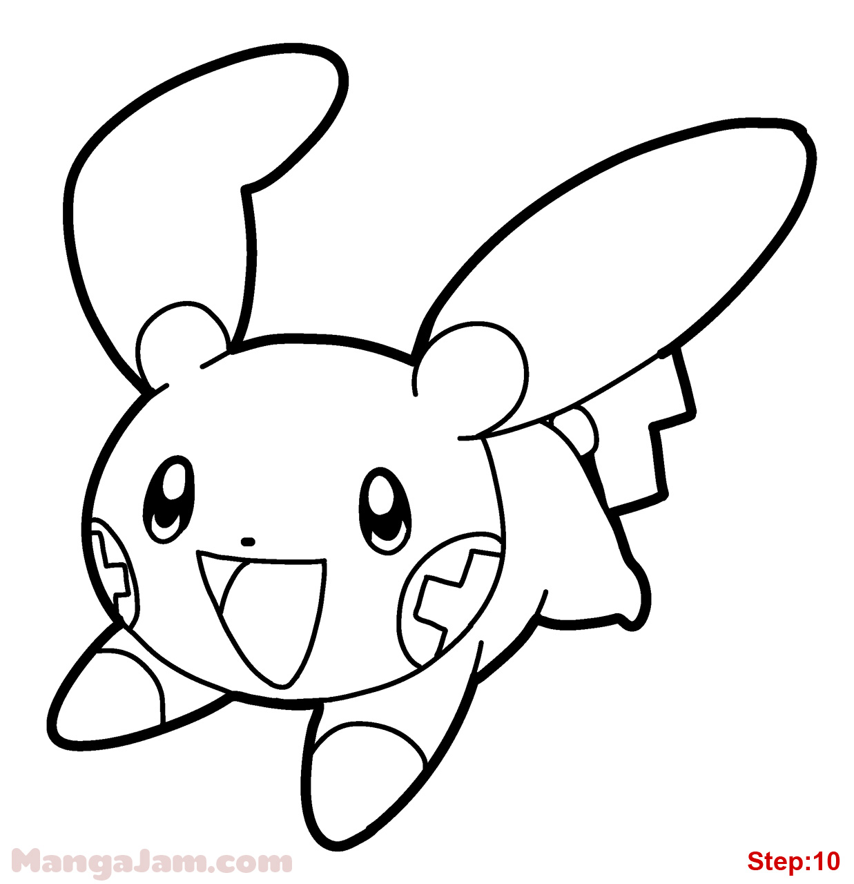 1237x1280 How To Draw Plusle From Pokemon