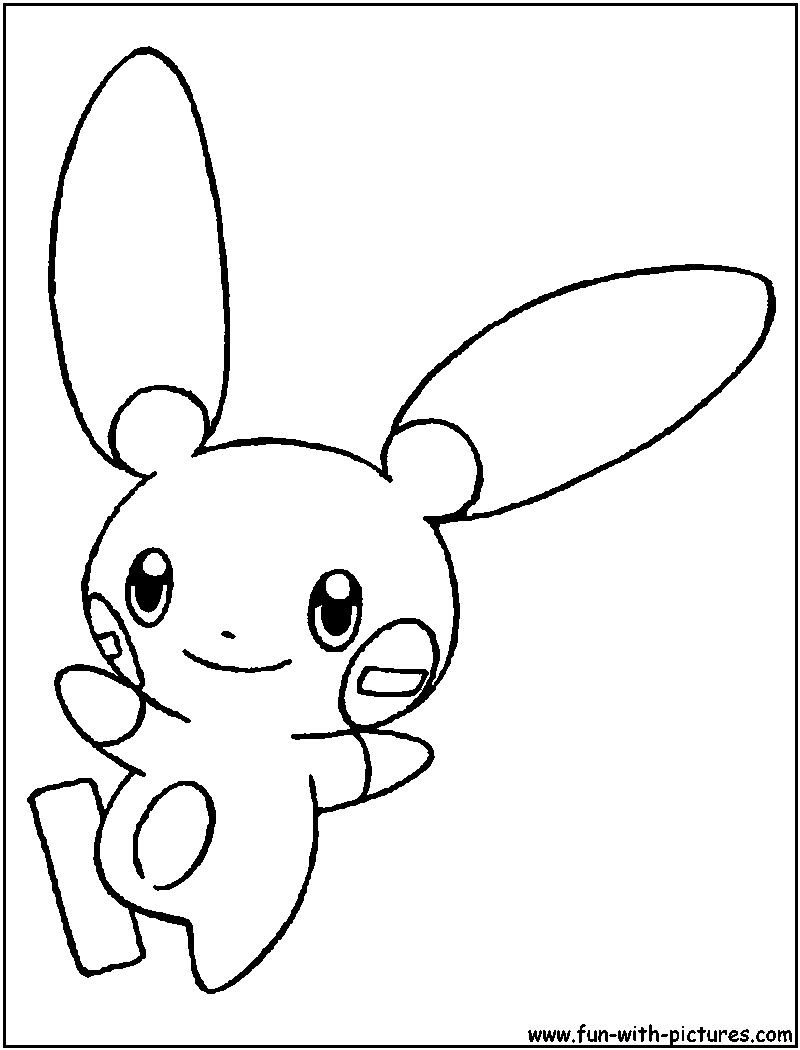 800x1050 Minun Coloring Page