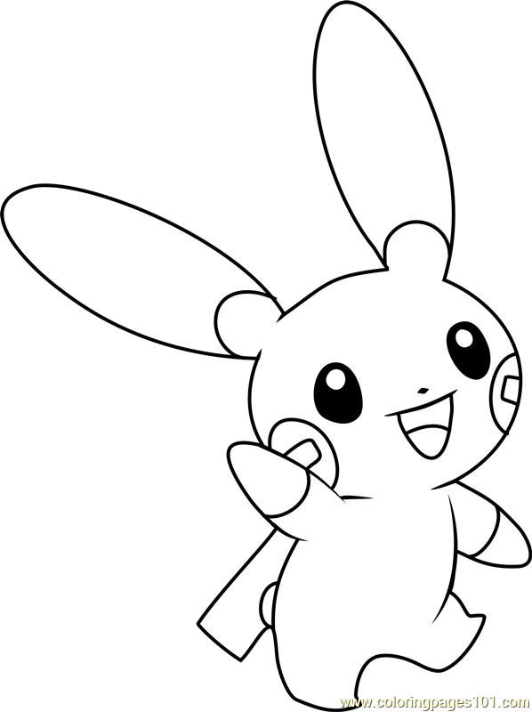 598x800 Minun Pokemon Coloring Page