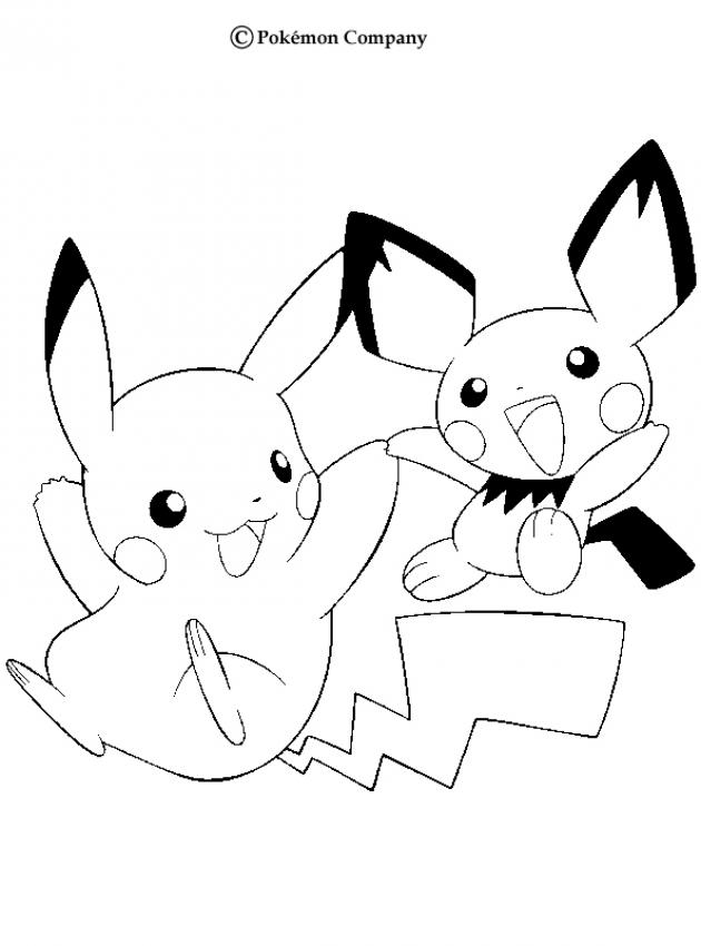 630x850 Pikachu And Pichu Coloring Pages