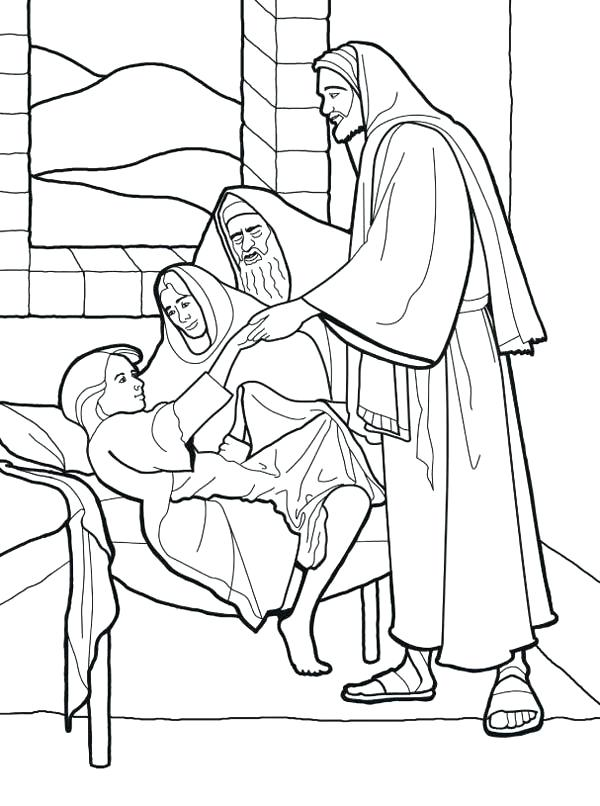 600x806 Miracles Of Jesus Coloring Pages Sick Girl Who Healed