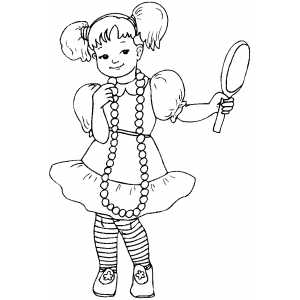 300x300 Girl With Pearl Looking At Mirror Coloring Sheet