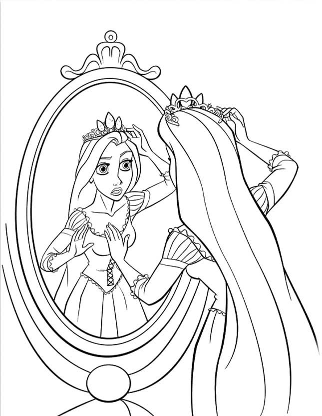 645x832 Princess Rapunzel Is Looking In Front Of The Mirror Coloring Pages