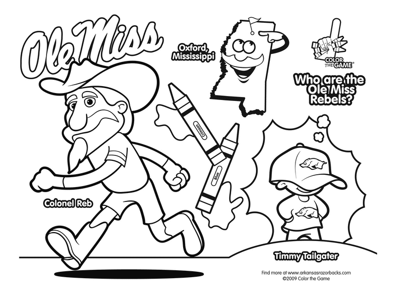 800x600 Ole Miss Rebels College Football Coloring Page Sports
