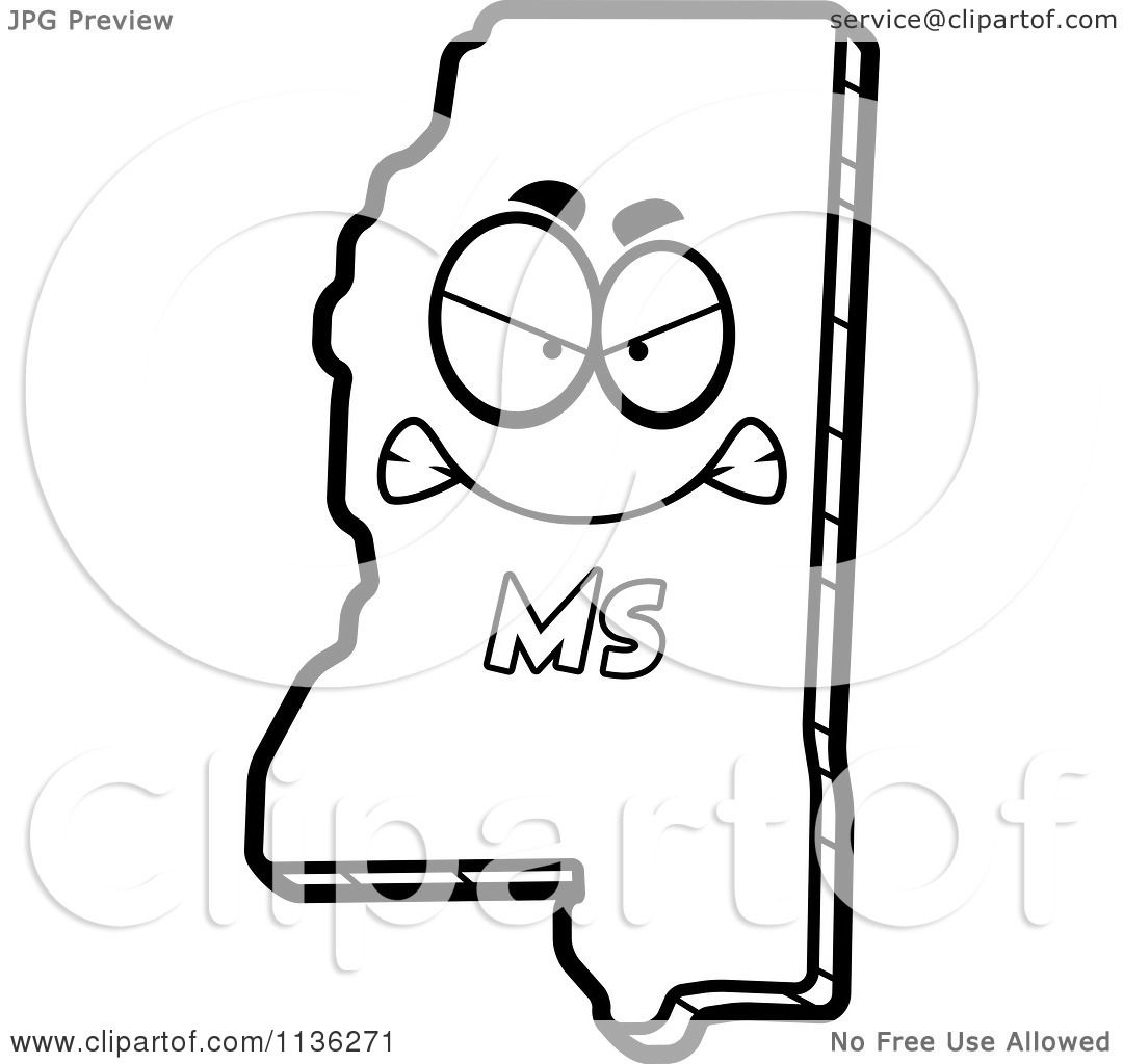 1080x1024 Cartoon Clipart Of An Outlined Mad Mississippi State Character