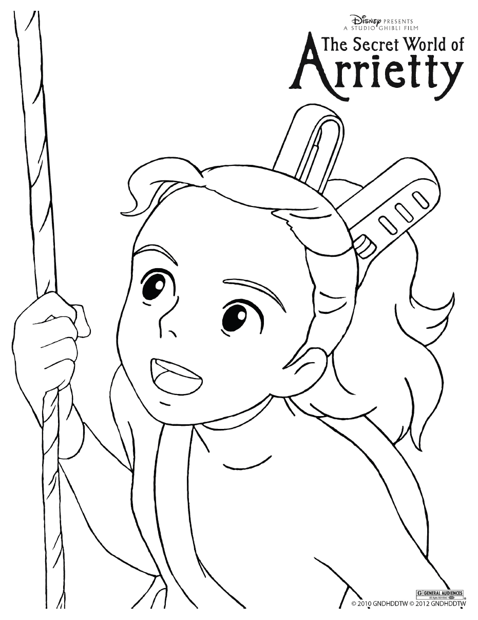 931x1207 Simple Ponyo Printable Coloring Pages Arrietty Colouring Page