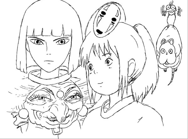 600x443 Spirited Away Coloring Pages