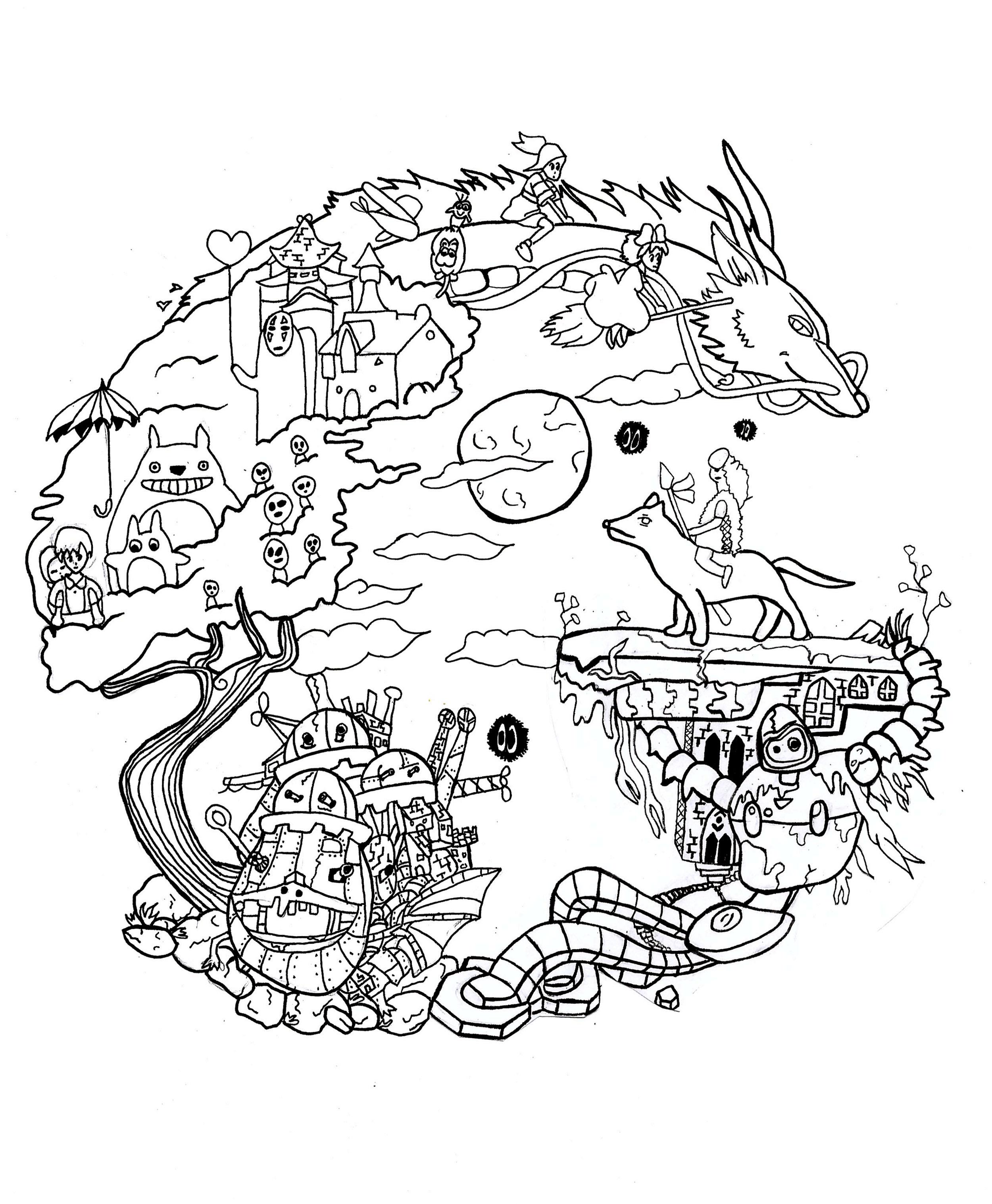 2500x3035 Studio Ghibli Coloring Book
