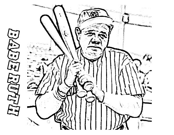 600x464 Babe Ruth, The Baseball Legend In Mlb Coloring Page Color Luna
