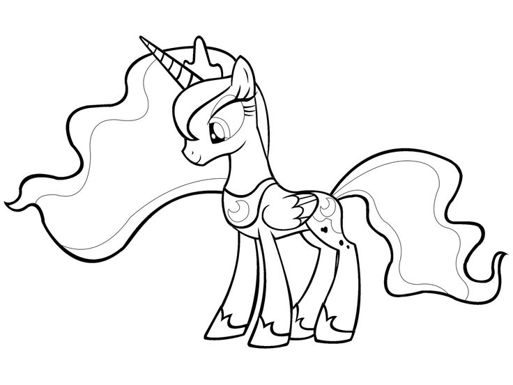 736x553 My Little Pony Friendship Is Magic Coloring Pages Luna