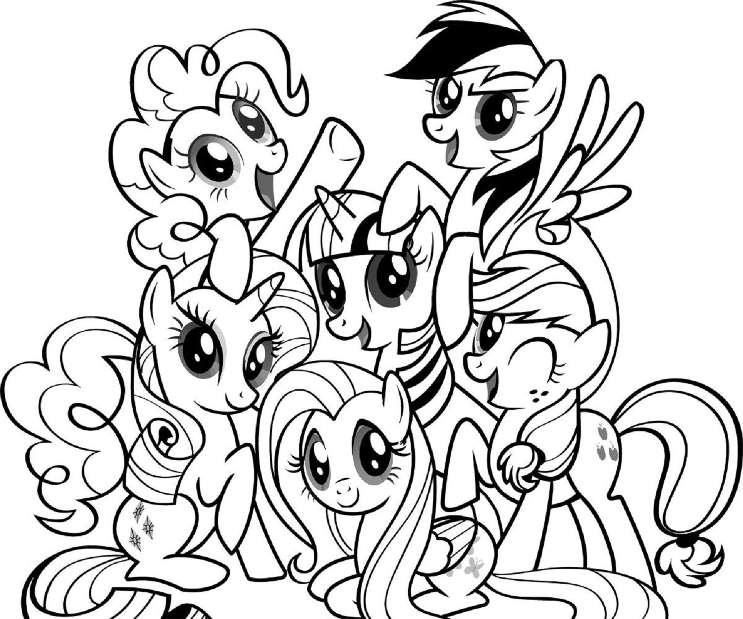 1500x1250 My Little Pony Coloring Pages With Friends Kids Activity