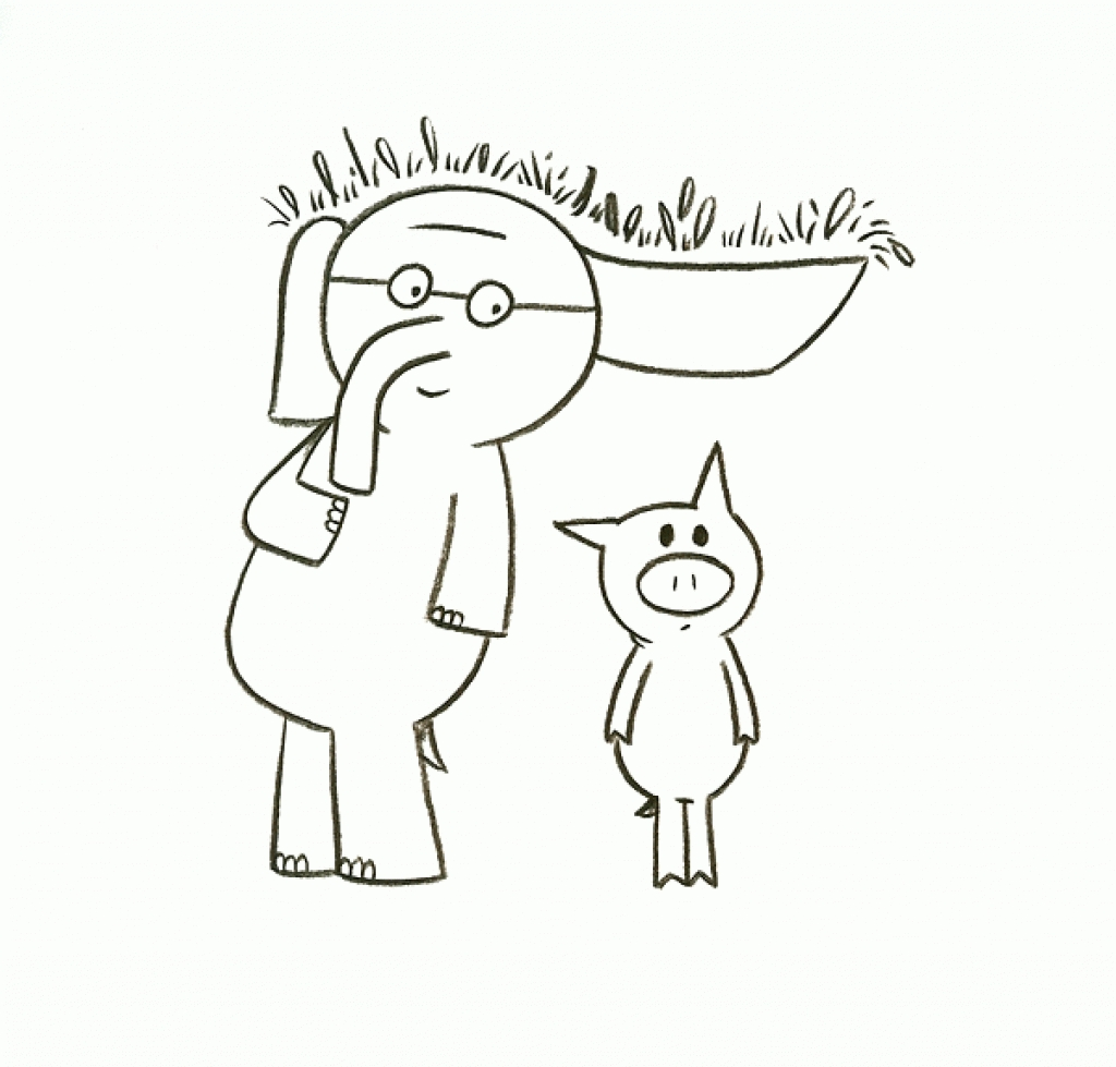 1024x979 Elephant And Piggie Coloring Pages Home Mo Willems Adorable