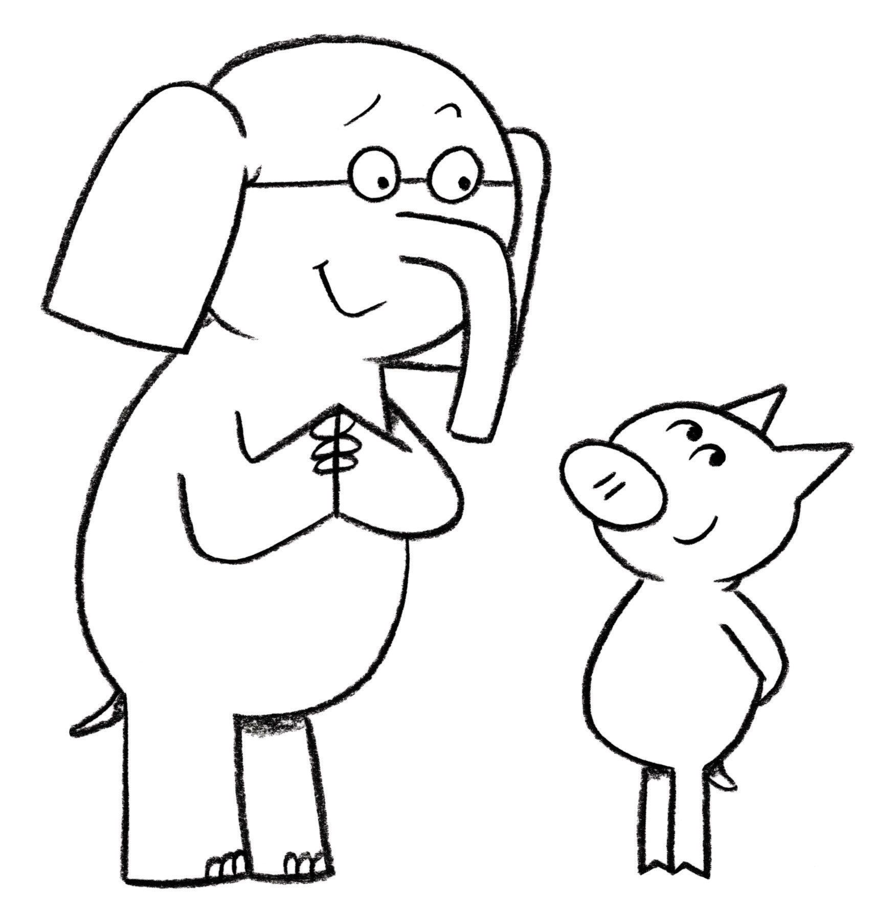 1752x1780 Elephant And Piggie Coloring Page Coloring Pages