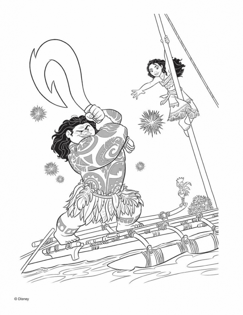 Moana And Maui Coloring Pages