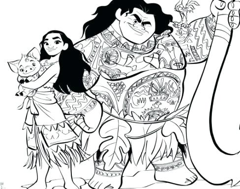 Moana And Maui Coloring Pages At Getdrawings Com Free For Personal