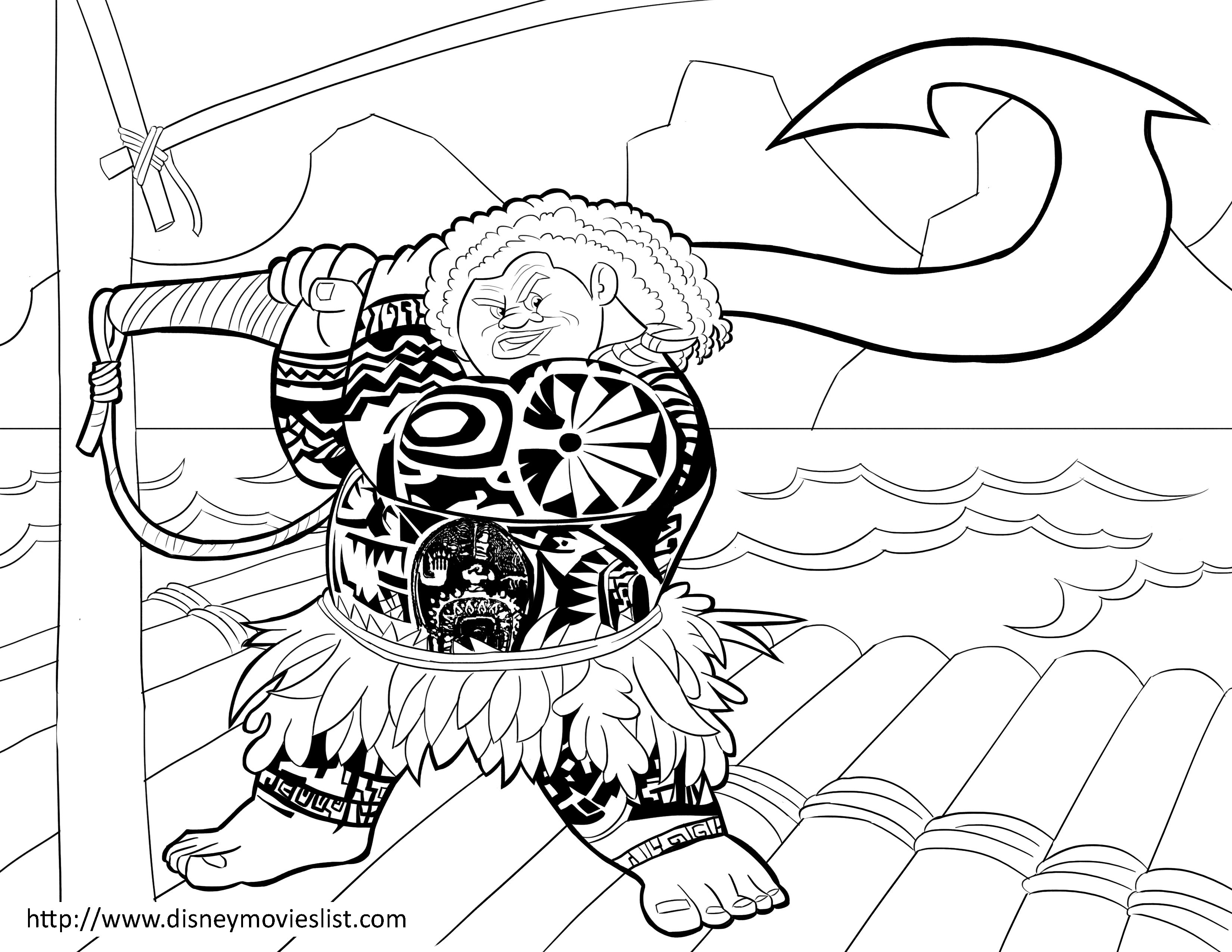 Moana coloring page. Maui pages at getdrawings