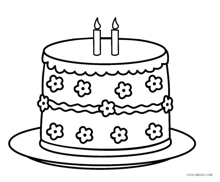728x602 Coloring Page Birthday Cake Birthday Cake Coloring Pages