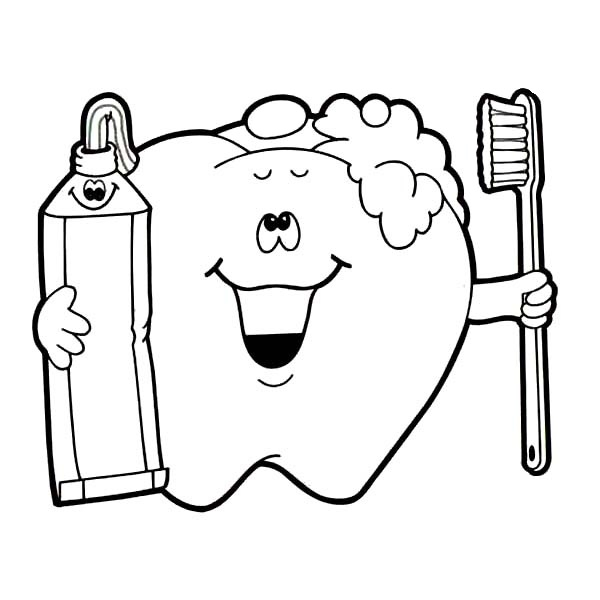 600x600 Brushing Teeth Coloring Pages Tooth Coloring Page Brushing Teeth