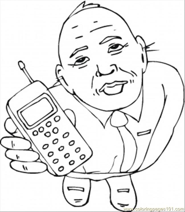 650x745 Take The Cell Phone Coloring Page