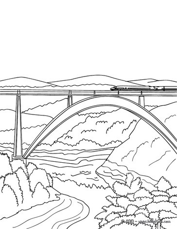 364x470 High Speed Rail Crossing A Very Modern And High Bridge Coloring