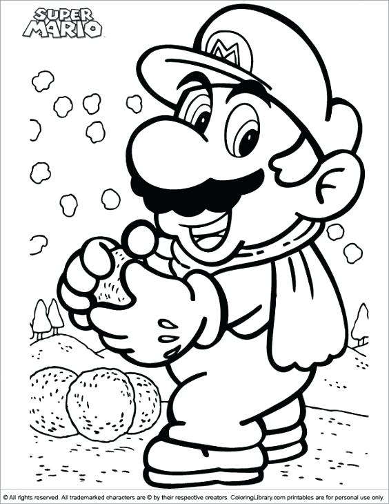 564x730 Mario Bros Printable Coloring Pages Free Super Making Snow Balls