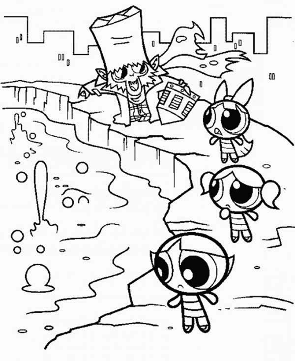 600x734 Mojo Jojo And The Powerpuff Girls Coloring Page Color Luna