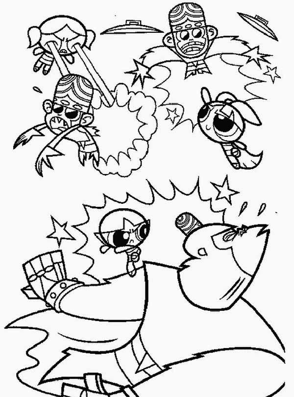 600x810 The Powerpuff Girls And Mojo Jojo Are Enemies Coloring Page
