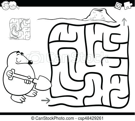 450x403 Mole Coloring Page Maze With Mole Coloring Page Vector Mole Rat