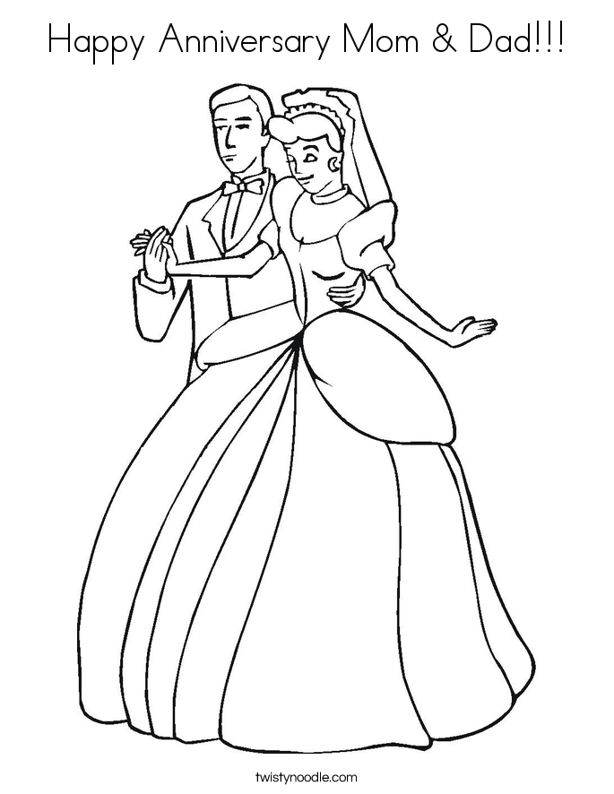 685x886 Happy Anniversary Mom Dad Coloring Page