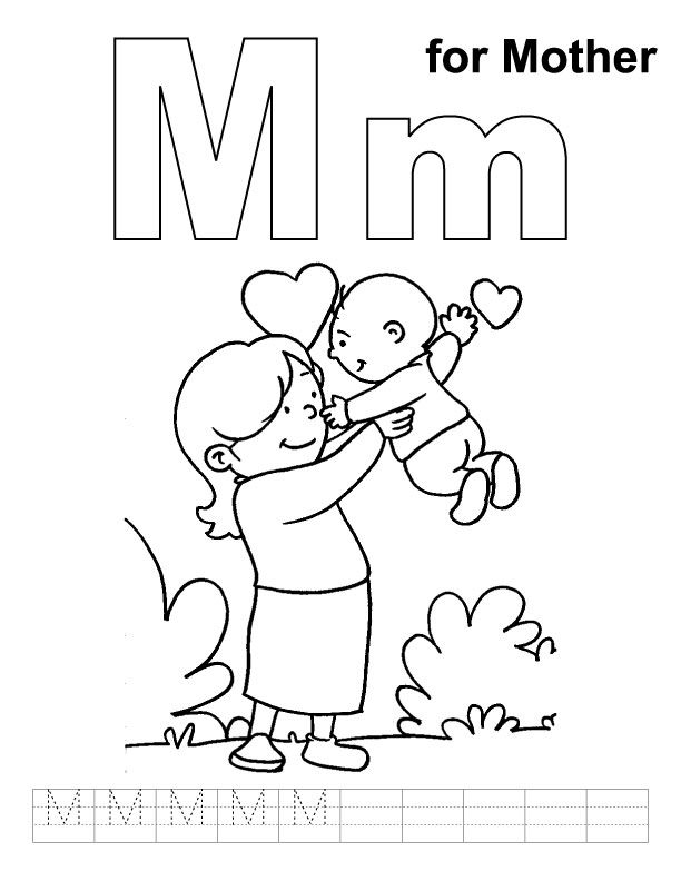 612x792 M For Mother Coloring Page With Handwriting Practice Mothersday