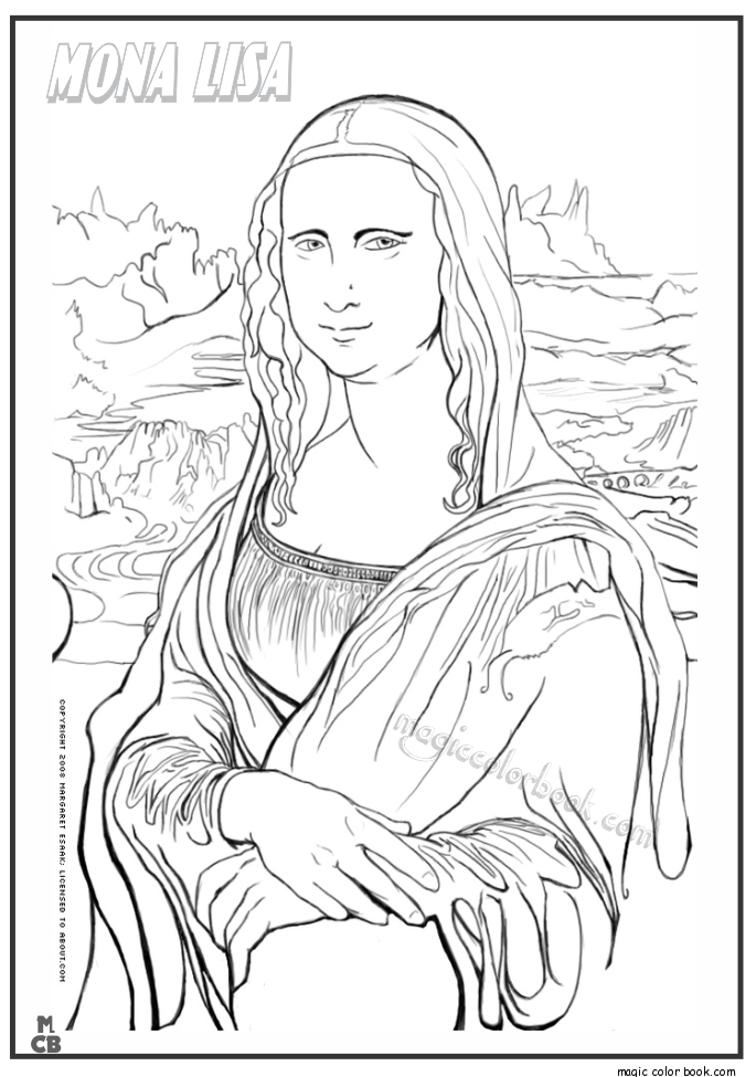 685x975 Famous People Coloring Pages Mona Lisa