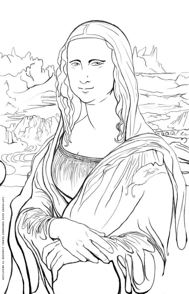 643x1000 Free Art History Coloring Pages Mona Lisa, Lisa And Printing