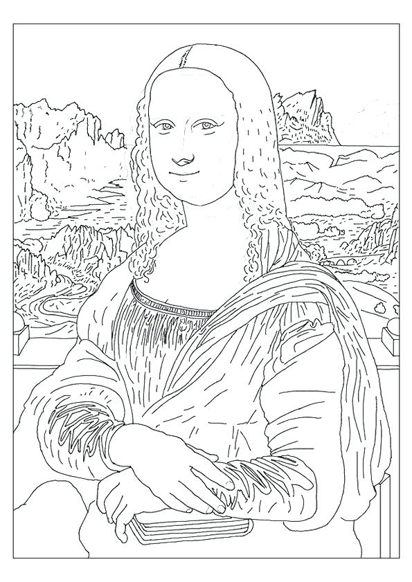 595x841 Inspirational Mona Lisa Coloring Page For Best Of Mystery History