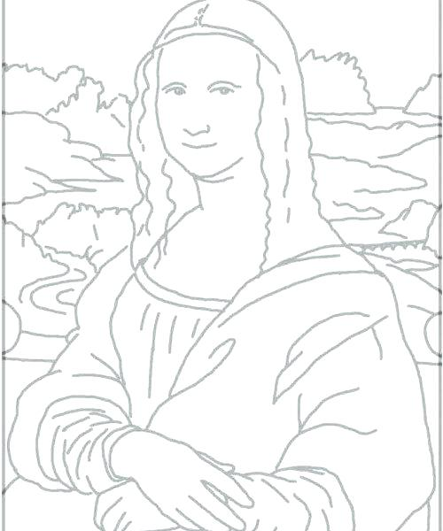 The best free Mona lisa coloring page images. Download from ...