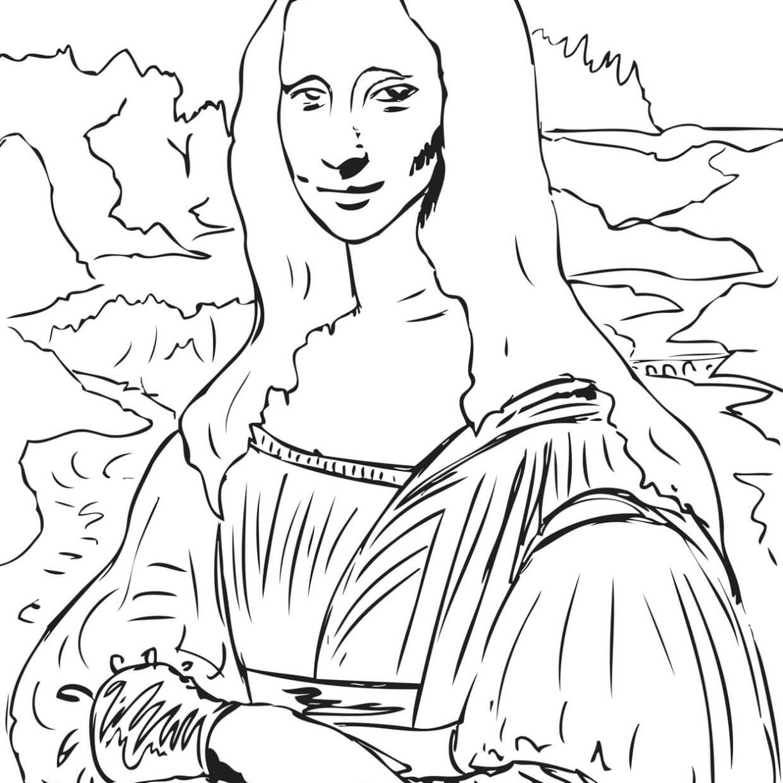 1224x1224 Mona Lisa Coloring Page La Gioconda Leonardo Vinci On Monalisa
