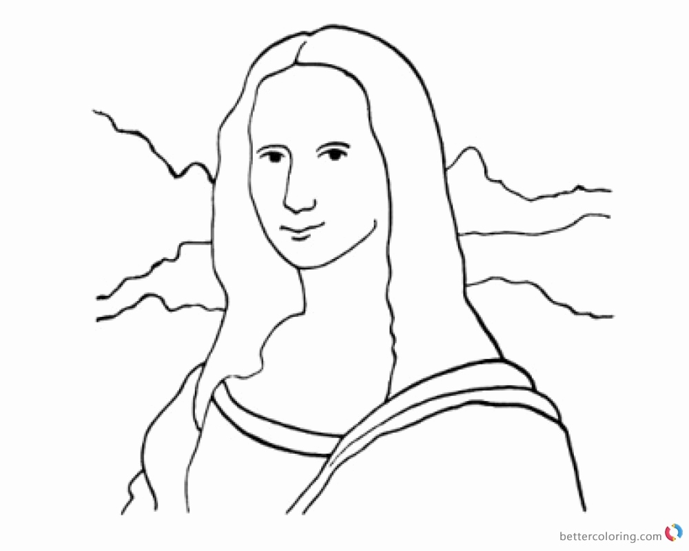 1000x800 Mona Lisa Coloring Page New Leonardo Da Vinci Coloring Pages