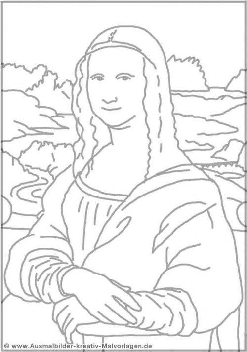 500x713 Mona Lisa Coloring Page Pdf