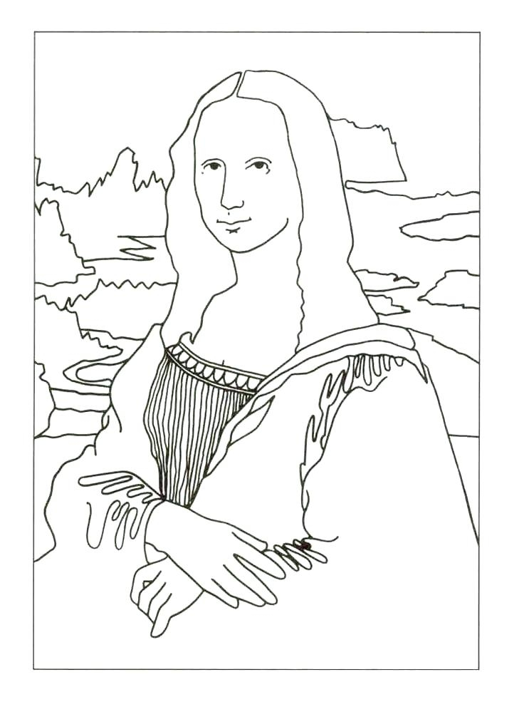 736x985 Mona Lisa Coloring Page Pdf Mona Lisa Coloring Page Coloring Pages