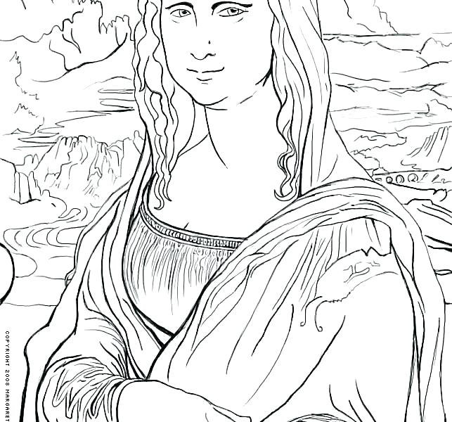 643x600 Mona Lisa Coloring Page Plus Coloring Page Free Art History