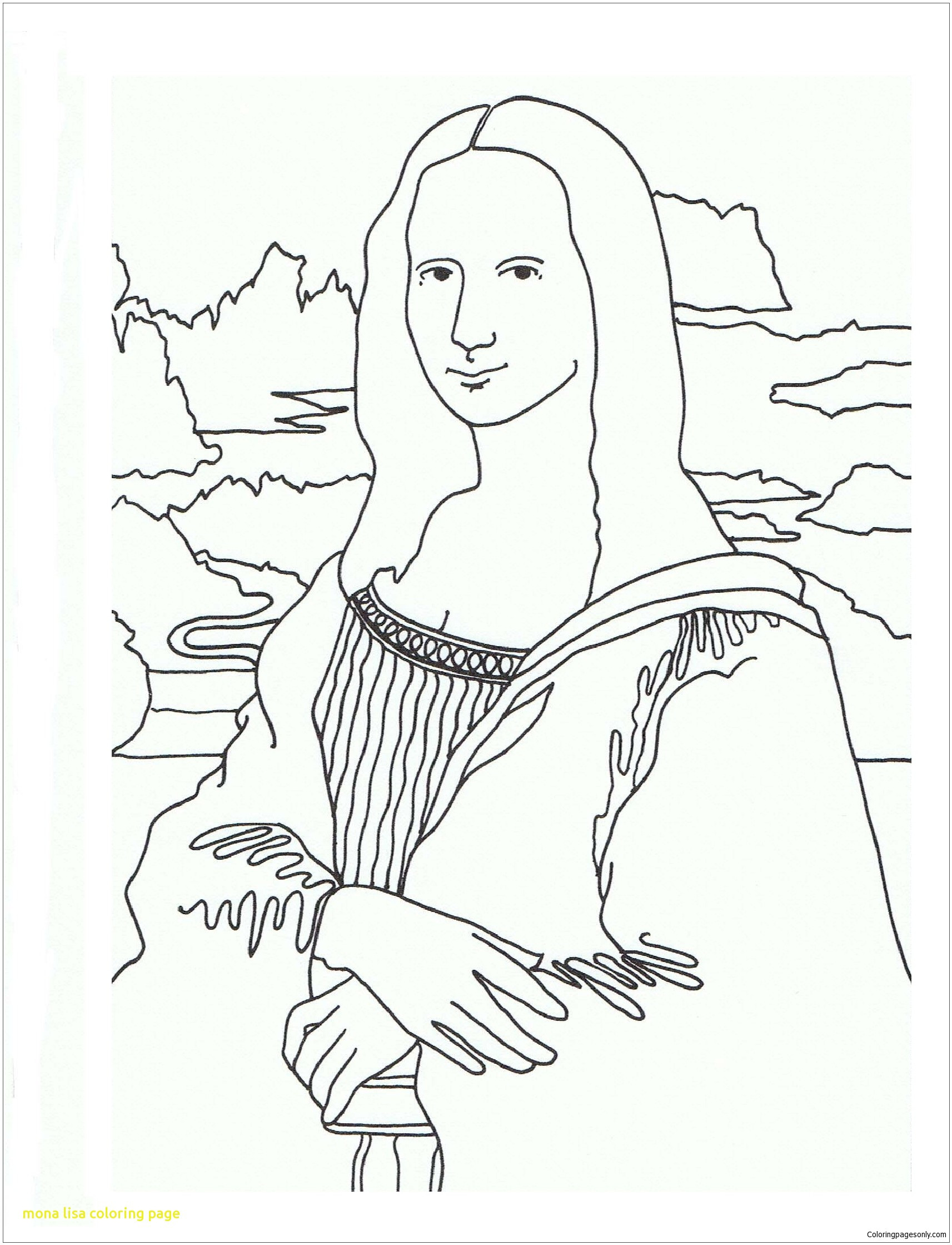 1713x2239 Mona Lisa Coloring Page With The Free Pages Line Of Stuning