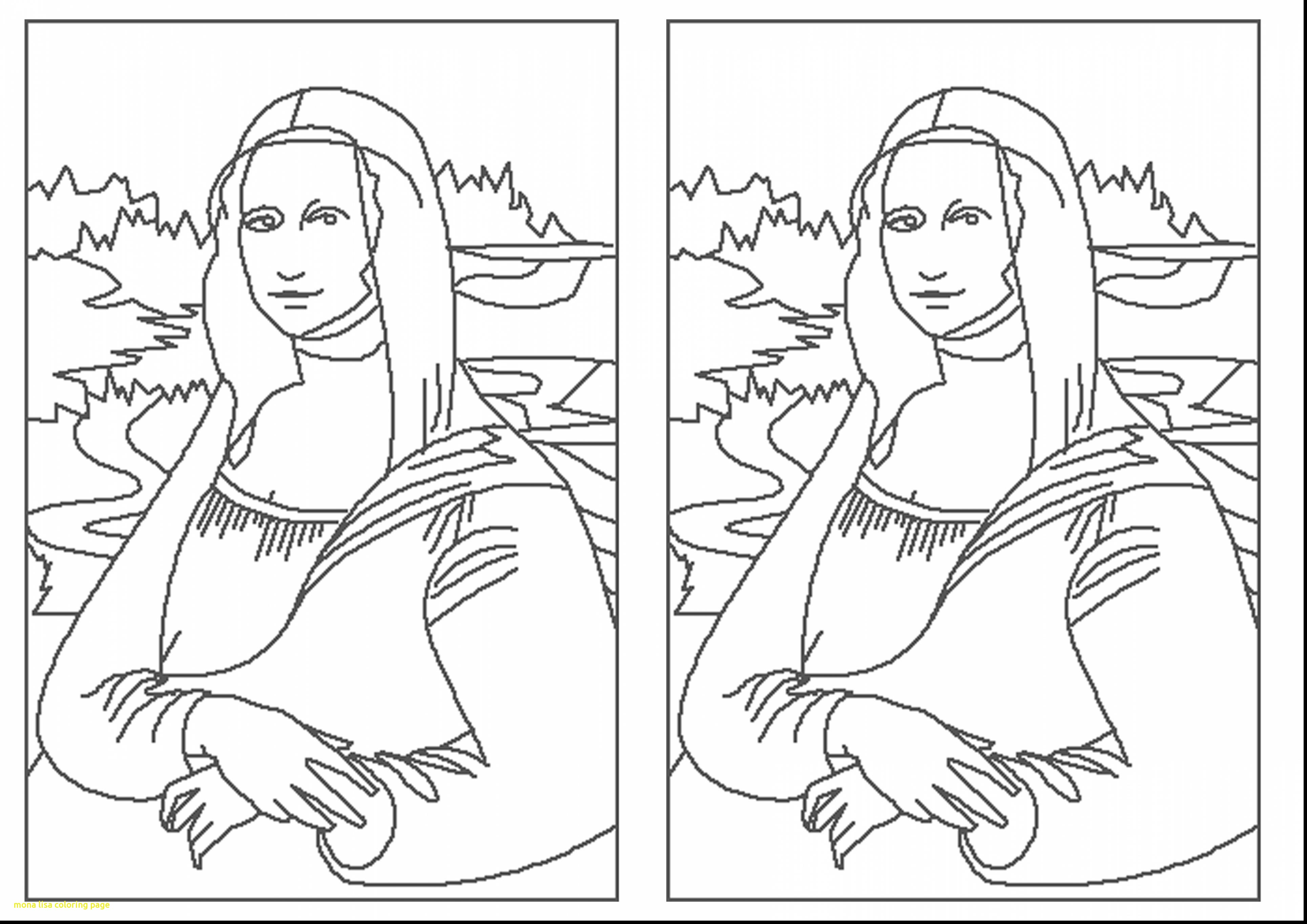3858x2728 Mona Lisa Coloring Page With Excellent Mona Lisa Outline Drawings