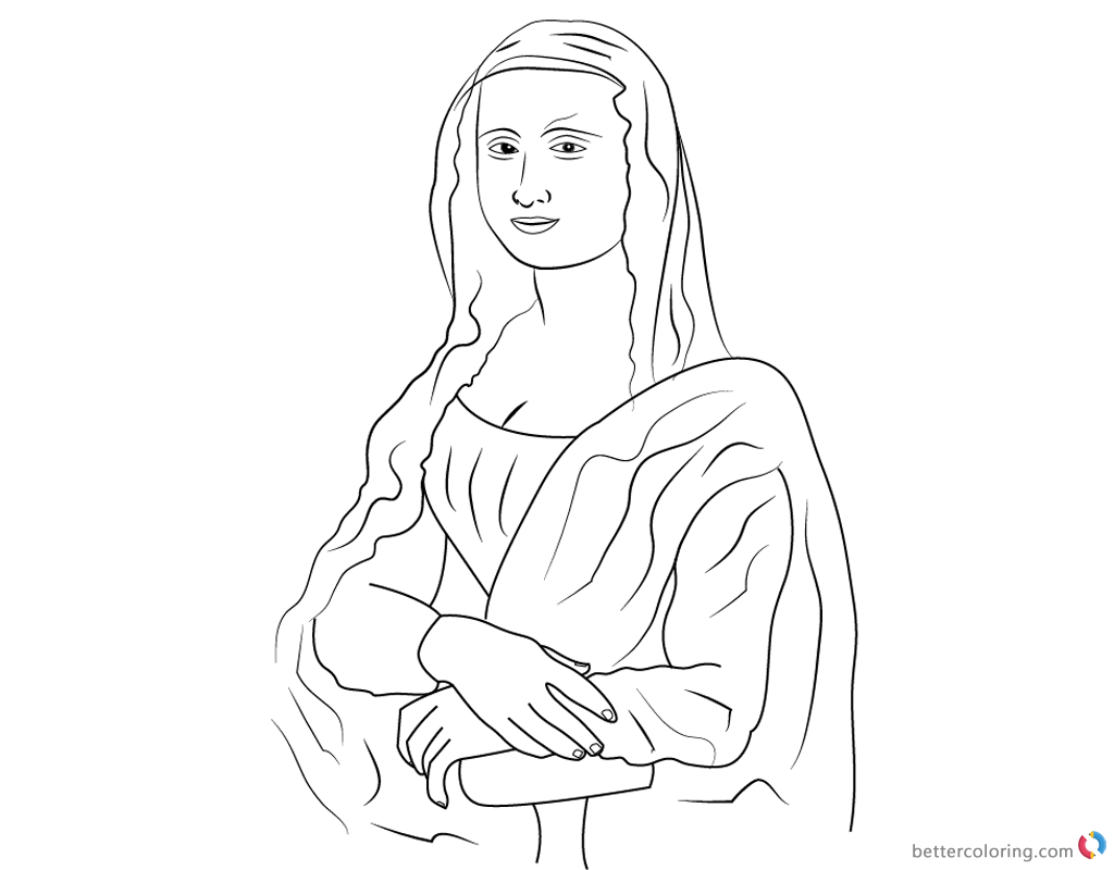 1024x800 Mona Lisa Coloring Pages Simple Line Art