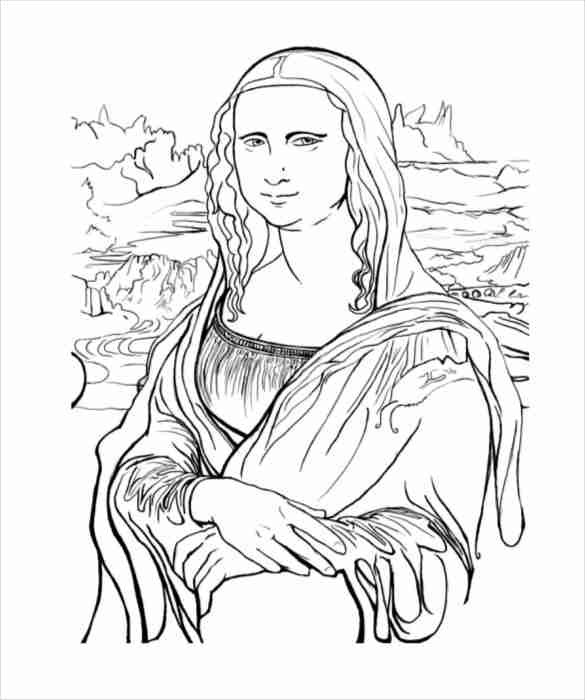 585x700 Amazing Mona Lisa Coloring Page In Ew Year Color Pages