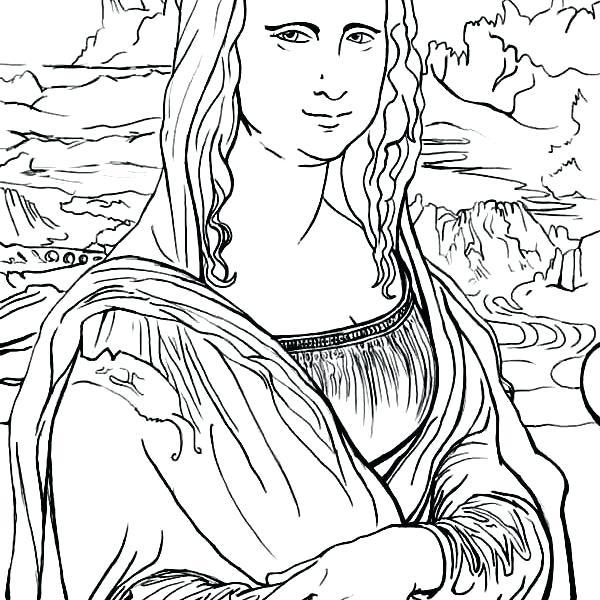 Mona Lisa Coloring Page at GetDrawings   Free download