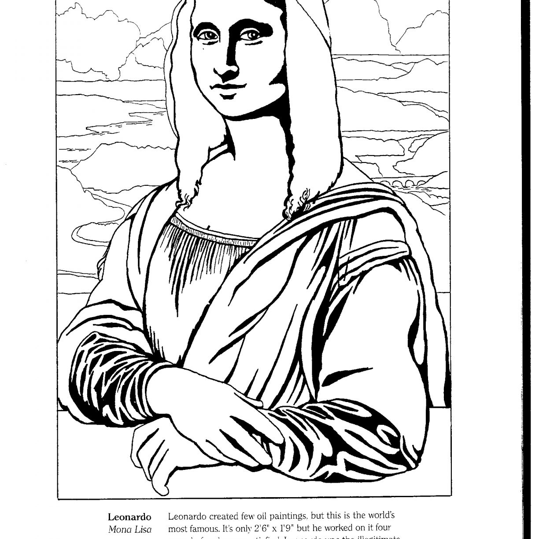 1224x1224 Beautiful Renaissance Colorings With Mona Lisa Monalisa Coloring