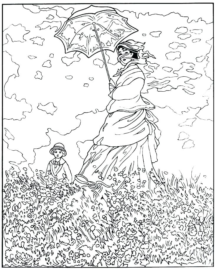 736x916 Monet Coloring Pages Coloring Pages Woman With A Parasol