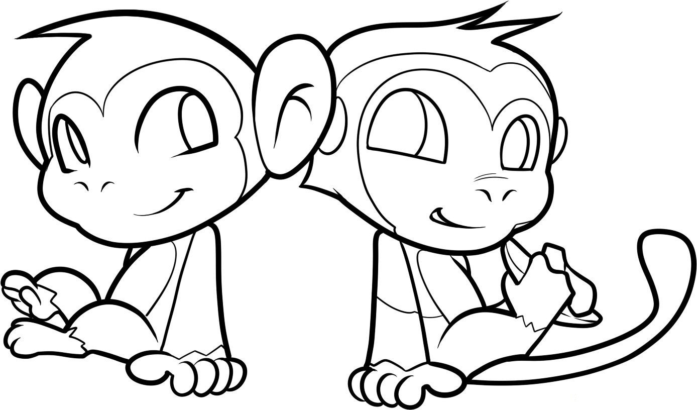 1388x816 Monkey Coloring Pages To Print